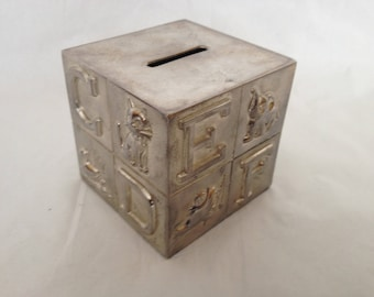 Silver Plate Cube Alphabet Bank International Silver Company Vintage Bank