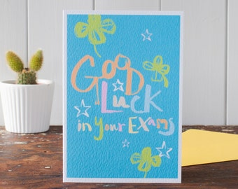 Exam Good Luck Card, good luck in your exams, fun lettering, 4 leaf clover examination luck greeting card by Gabriella Buckingham