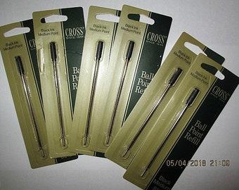Vtg. Lot 6 Cross Ballpoint Pen Refill Black #8513 SEALED