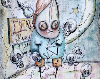 Klopp Original Lowbrow Painting Macabre Art Illustration Fantasy Creepy Cute Day of Dead Roses Gothic I Love You Heart Muerto Death Skull