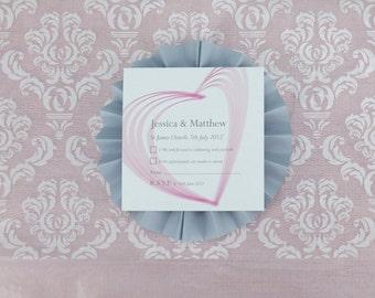 Heart Illustrated Personalised Wedding RSVP
