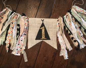 Tribal boho girl highchair banner