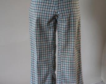Vintage 70s Kick Flare Plaid Cropped Pants