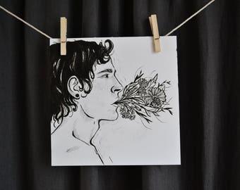 Man and flowers illustration