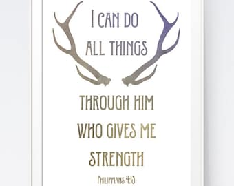 Deer Antler Bible Verse, Modern Christian Art, Scripture Print, Christian Prints, Christian Quote, Philippians 4:13, Print, INSTANT DOWNLOAD