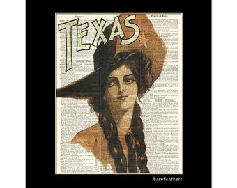 Dictionary Art Print Texas Cowgirl Book Page Art Print Vintage Illustration No. P147