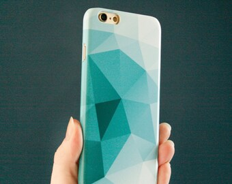 Geometric iPhone X Case, Teal Modern iPhone SE Case, Abstract iPhone 7 Case, iPhone 8 Plus Triangles iPhone 6S