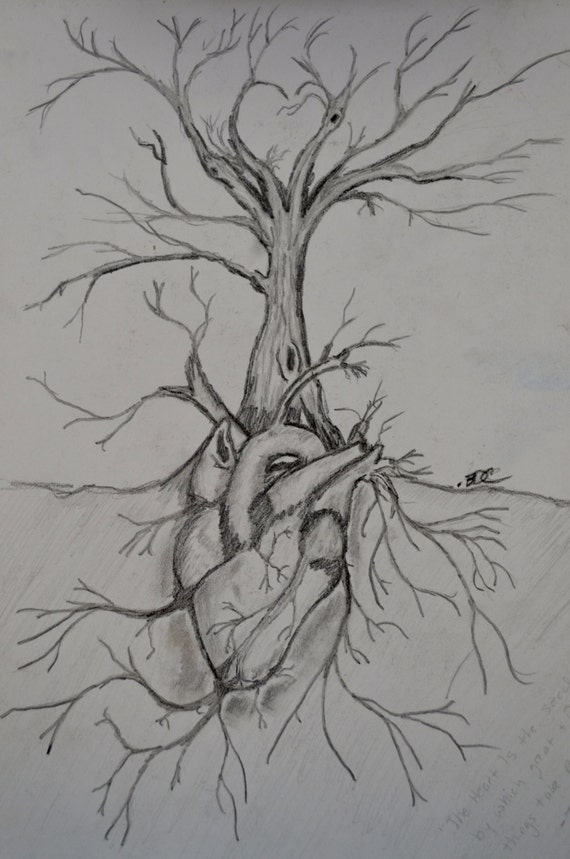 Giclee print tree of life hand made pencil