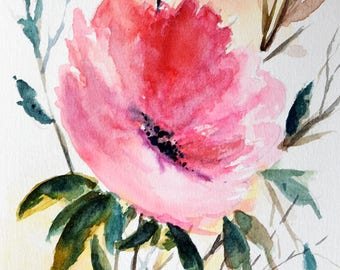 Original Watercolor Flower Painting, Red Poppy Art, Watercolor Floral Art 6x8 Inch