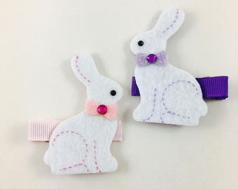 Easter Pink and Purple Hair Clip Set - Easter Bunny - Lavender - Small Hair Bows