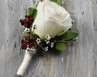 Wedding boutonniere etsy ivory wedding boutonniere grooms boutonniere groomsmen boutonniere mens rose boutonniere ivory boutonniere wedding boutonniere junglespirit Images