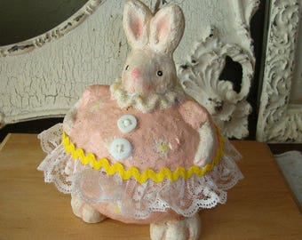 Bunny candy container Easter dish spring table decor cute farm animals paper mache figurine Cottage Chic home decor table decorations bunny