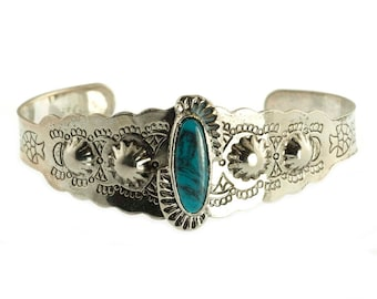 Faux Turquoise Sterling Plated Cuff