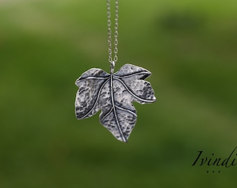 Leaf necklace, silver leaf necklace, ivy leaf, nature necklace, sterling silver, gift for her, botanical jewelry, boho  jewelry, Ivindi