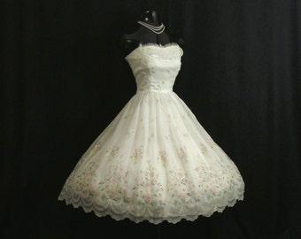 Vintage 1950's 50's STRAPLESS Ivory Pink Flocked Floral Chiffon Organza Party Prom Wedding Dress Medium Size