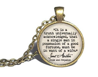 Jane Austen, 'It is a truth universally acknowledged that a single man', Pride and Prejudice Jewelry, Classic Literature, Bracelet Keychain