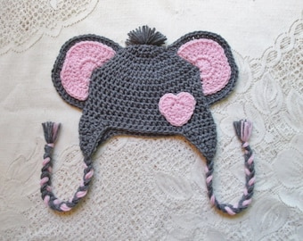 Crochet Elephant Hat with Heart - Jungle Animals - Winter Hat or Photo Prop - Any Color Combination