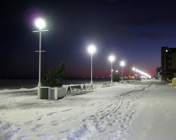 snow boardwalk 8x10 photo ocean city maryland winter