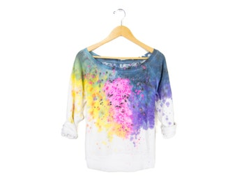 "Spectrum Rainbow Sweatshirt - Original ""Splash Dyed"" Hand Painted Relaxed Fit Scoop Neck Raglan Sweater in White - Women's Size S-2XL"