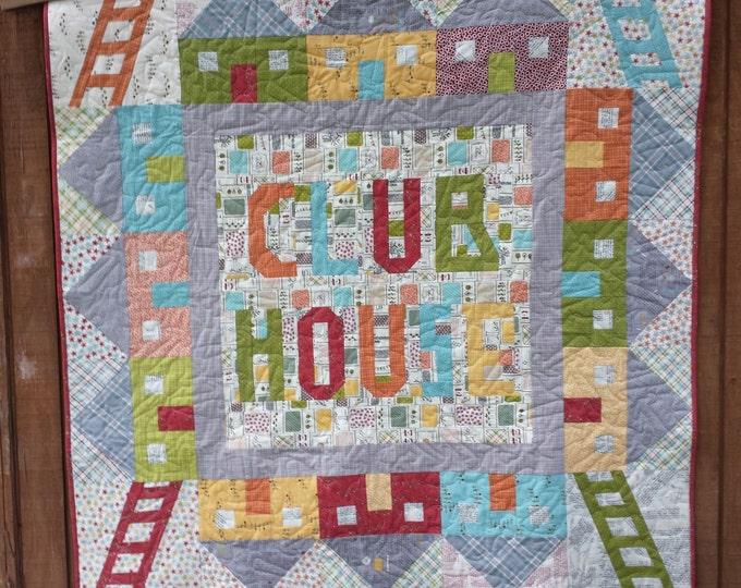Club House a mix of patchwork and paper piecing pdf quilt pattern