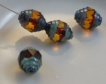 Czech Glass Cathedral Beads Wavy 10x8mm Fire Polish Topaz with Picasso (Qty 6) SRB-10x8FP-CW-TPZ-P