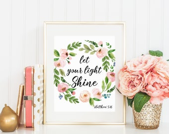 Bible verse art print, Scripture print, Christian art print, Inspirational quote, Let your light shine Matthew 5:16 16x20 11x14 8x10 5x7 4x6
