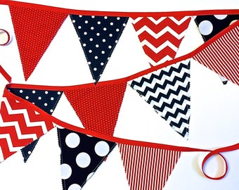 Fourth of July Bunting,  Garland,  Banner, Red White and Blue Bunting, Patriotic Decor, Vendor Table Bunting by 8th Day Encore