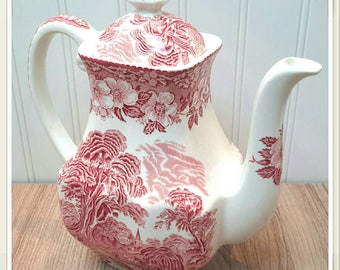 Enoch Wedgwood Tunstall Red Transferware Tea Pot
