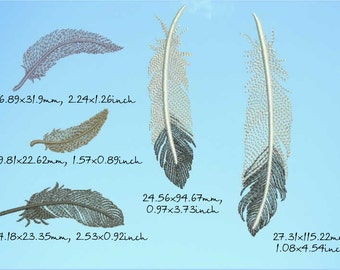5 different feathers design machine embroidery, instant download