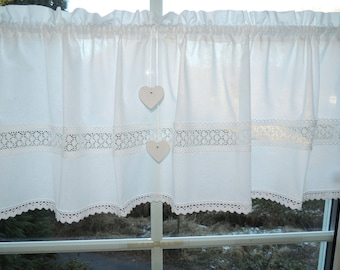 Fantastic country house curtain Scheibengardine white, lace, 2 hearts