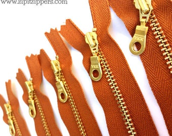 YKK brass donut pull metal zippers- Gingerbread 079- 5pcs - available in 14 or 16 inches