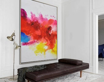 Original contemporary painting on canvas, large vertical abstract painting, hand painted. FREE shipping. By Ethan Hill Art No.H3V