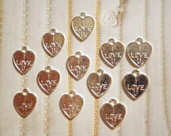 12 Silverplated I Love U Heart Charms