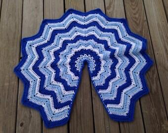 Crochet blue, light blue, and white Christmas tree skirt