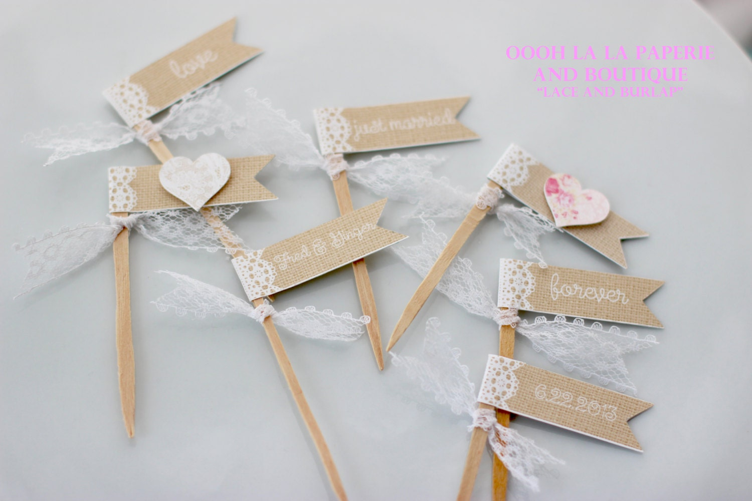 MADE TO ORDER Lace and Burlap Style Cupcake Flags with choice
