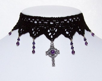 Gothic Lace choker with Amethyst celtic cross and Swarovski cascade - IMMORTAL goth