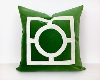Green Velvet  Pillow Cover with Off-White Velvet Applique
