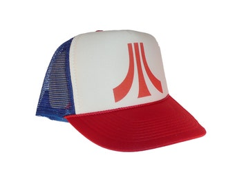 Atari video game hat Trucker hat mesh hat new adjustable retro look red white blue