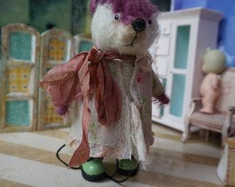 "OOAK Artist Bear -  LAVINIA- 5"" Tall 2-Tone Cabernet and White German Mohair Collectible Teddy Bear"