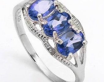 1.4 carat 3 stone genuine tanzanite ring size 8