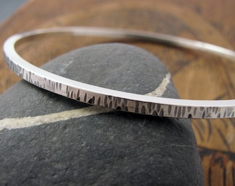 Sterling Silver Bangle Bracelet - Silver Bangle - Textured Sterling Bangle with patina - size Large Medium or Small - simple silver bangle