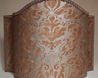 Venetian Floor Lamp Shade Fortuny Fabric Warm French Brown & Gold Sevigne Pattern Half Lampshade - Handmade in Italy
