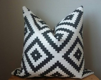 Tribal diamond aztec fabric ethnic black white linen blend pillow cover euro sham 16 18 20 22 24 26 cushion toss throw lumbar
