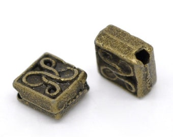 20 Tibetan Style Square with Knot Design in Antique Bronze - 5.5mm