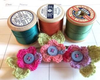Boho crochet flower brooch/shawl pin/ cardigan closure