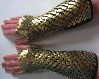 Scale Mail Armor Gauntlets Knitted Elbow Length Gold Dragonhide Custom Made to Order