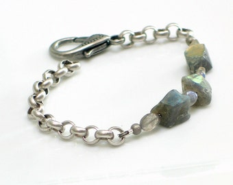 Labradorite Raw Stone Bracelet, Nuggets & Chain Gray Cuff, Gemstone Bracelet, WillOaks Studio Original Design, Nature Fashion