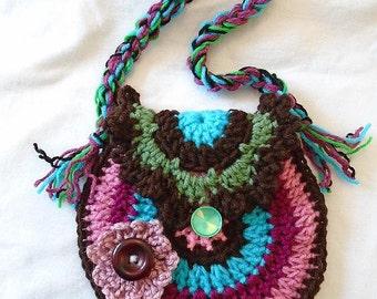 CROCHET Purse PATTERN - Rainbow Purse or Handbag - Tote - Hippie purse, fun colorful bag - # 768