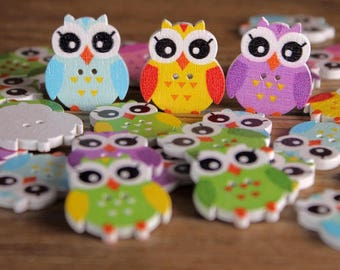 "30 PC Painted wood buttons 25mm - Wooden Buttons ,tree buttons, natural wood buttons ""owl "" A060"