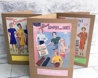 Birthday card Vintage Fashion Blouse Pattern